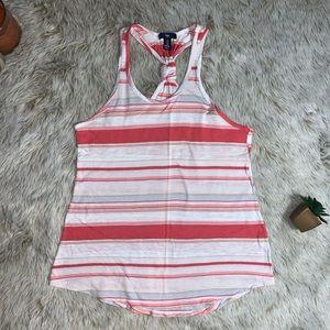 Gap Coral/Pink/White Striped Racer Back Tank